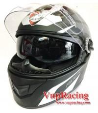 หมวกกันน็อค Rider รุ่น Viper แว่น 2 ชั้น ปี2016 สีดำขาวด้าน