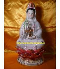 เจ้าแม่กวนอิม ประทับนั่งฐานดอกบัวบาน ปางค์ประทานพร (สูงประมาณ 35cm)