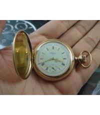 นาฬิกาพก โบราณ ELGIN 2 เข็มคึ่ง ทองชมพู หน้ากระเบื้อง