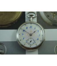 นาฬิกาพกโบราณ ตัวเรือนเงินแท้ หน้ากระเบื้องลงยา 2 เข็มครึ่ง Swiss