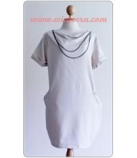 เดรส แซก ราคาถูก รหัสDWT65  เดรสผ้ายืดสีขาว + สร้อย (เดรสน่ารัก)