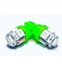 หลอดไฟหรี่-ส่องป้าย ขั่ว T-10 แบบเสียบ 5 เม็ด สีเขียว