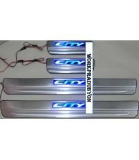 ชายบันไดประตูสแตนเลสมีไฟ  Honda City 05-07 ZX แสงสีฟ้า