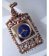 นาฬิกาห้อยคอ desta art deco classic 1970 ไขลาน for lady หน้าปัดน้ำเงินเข้มราปิส เดินเวลา 2 เข็มทอง ก