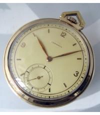นาฬิกาพกไขลานทองคำ longines ขนาดตัวเรือน 47mm หน้าัปัดทองเหลืองทองประดับหลักเวลาขีดทองสลับอารบิค เดิ
