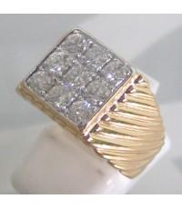 แหวนทองคำประดับเพชรแท้ขนาด 0.12x9 กะรัต น้ำขาว 96 เบลเยี่ยมคัตไฟดี ไม่มีตำหนิ ตัวเรือนทอง 90 น้ำหนั