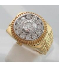 แหวนทองคำรูปทรงนาฬิกา ประดับเพชรแท้เม็ดหลักขนาด  0.52 กะรัต เม็ดรองขนาด 0.45x12 กะรัต น้ำขาว 95 เบลเ