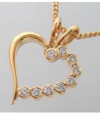 จี้ห้อยคอทองคำรูปทรงหัวใจประดับเพชรแท้ 9 เม็ด รวมน้ำหนัก 0.15 กะรัต ตัวเรือนทอง 90 1.6 กรัม