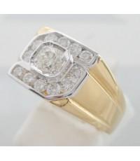แหวนทองคำประดับเพชรแท้เม็ดหลักขนาด 0.28 กะรัต เม็ดรองขนาด 0.04x12 กะรัต เบลเยี่ยมคัต ไฟดี ไม่มีตำหนิ