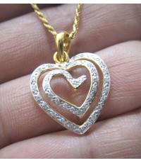 จี้ห้อยคอทองคำฝังเพชรแท้รูปทรงหัวใจประดับเพชรแท้ 40 เม็ด รวมน้ำหนัก 0.50 กะรัต น้ำขาว 95-96 ตัวเรือน