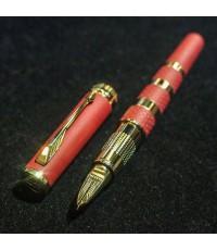 ปากกาหมึกเคมี PARKER ชุดเหน็บเคลือบทอง yellow gold ระบบหมึกซ่อนปลายปากเคมี ตัวด้ามแดงสลับทอง ระบบดึง
