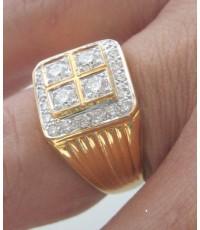 แหวนทองประดับเพชรแท้เม็ดหลักขนาด 0.13x4 กะรัต เม็ดรอง 0.025x20 เม็ด น้ำขาวไฟดีไม่มีตำหนิ ตัวเรือนทอง