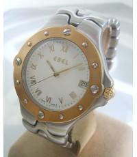 EBEL sportwave quartz date for man, lady size 36mm หน้าปัดขาวประดับหลักเวลาโรมันใหญ่ บอกวันที่ตำแหน่