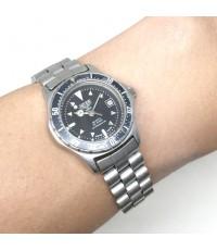 HEUER Classic 2000 Qaurtz date ขนาด Lady size 26mm หน้าปัดดำ ขอบปรับหมุนเทียบเวลา ตัวเรือนและสาย ste