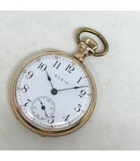 นาฬิกาพก pocket watch 1950 ELGIN original USA ขนาดตัวเรือน 35 mm หน้าปัดขาวเคลือบกระเบื้องเลขอารบิคด