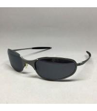 OAKLEY Sun glasses For man, lady, unisex เลนส์โค้งเทาดำ ตัวเฟรมโลหะแข็งสีเทาขัดลายด้าน ทรงขาตรงพร้อม