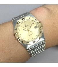 Omega constellation date Quartz man, unisex ขนาด 32mm  หน้าปัดเหลืองทองประดับหลักเวลาจุดทอง บอกวันที