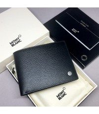 Montblanc Westside Black Leather Wallet 6CC 38036 สำหรับบุรุษ ขนาด 4 1/2 \quot;x 3 1/3\quot; วัสดุหน