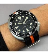 SEIKO Diver 150m 1970  model 6309-7040 ขนาด size 45 mm หน้าปัดดำพิมพ์พรายน้ำกลม บอกวันและวันที่ตำแหน