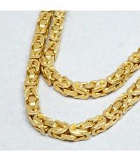 สร้อยคอทอง ITALY yellow 18k (750)  สำหรับบุรุษ สตรี ขนาดลายกว้าง 3.5 mm ความยาวของสร้อย 61cm (สวมหัว