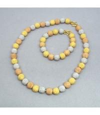 ชุดสร้อยคอทองคำ 3 สี พร้อมสร้อยข้อมือทองคำ 3 สี งานนอกทองบริสุทธิ์ ขนาดของเม็ดทอง 10mm ความยาวของสร้