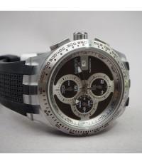 SWATCH SWISS automatic chronograph ขนาด 45mm หน้าปัดน้ำตาลช็อคสลับลายวงจับเวลาสีเงิน บอกวันที่ตำแหน่