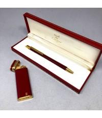 ปากกาพร้อมไฟแช็ค CARTIER collection ตัวเรือนสีแดง ชุดโลหะเคลือบทองหนา สภาพสวยสมบูรณ์ หายากน่าสะสม