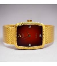 ROLEX Cellini Gold 4080 ไขลาน ปี 1980 ขนาด Lady size 23x26mm หน้าปัดแดงฝังเพชรแท้ 3 เม็ด ประดับสัญลั