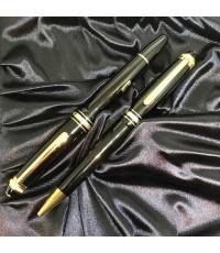 MONTBLANC Twin set Meisterstruck 75 Year Anniversary Fountain pen และ Roler ball  วัสดุตัวด้าม Black