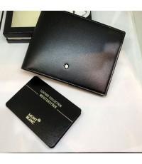 Montblanc Westside Black Leather Wallet สำหรับบุรุษ ขนาด 4 1/2 \quot;x 3 1/3\quot; วัสดุหนังวัวหนังว