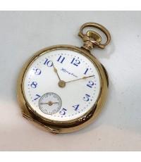 นาฬิกาพกไขลาน HAMPDEN pocket watch 1900 ขนาดตัวเรือน 32 mm หน้าปัดกระเบื้องขาวพิมพ์โรมันดำ เดินเวลา