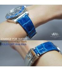 ดีไซน์สายหนังจระเข้แท้ให้กับนาฬิกา ROLEX GMT MASTER II Blue Black และรุ่นอื่น สีอื่นได้อีกมากมาย ทั้