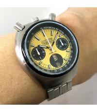 citizen มดเอ็กซ์ 1975 auto chronograph for man , unisex size 38mm หน้าเหลืองทองสไลด์เงาประดับหลักเวล