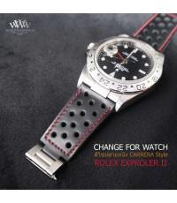ดีไซน์สายหนังวัว CARRERA Style ให้กับนาฬิกา ROLEX EXPROLER II 16570 และรุ่นอื่น สีอื่นได้อีกมากมาย ท