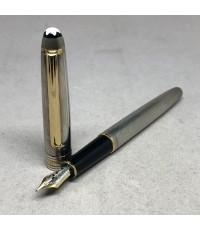 ปากกาหมึกซึม MONTBLANC meisterstuck foutain ตัวด้ามลายเส้น วัสดุเงินแท้ silver sterling 925 เคลือบทอ