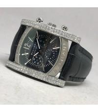 BVLGARI Assioma Full diamond สำหรับบุรุษ และสตรี ขนาด 33x38mm หน้าปัดสีน้ำเงินเข้มตีลายเส้นประดับหลั