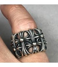 แหวนเงิน CHROME HEART 2003 original HEARTS CEMETERY CROSS  silver stering ตัวเรือนแสดงลวดลายสัญลักษณ