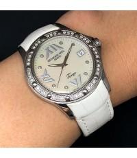 RAYMOND WEIL Tango 18k Quartz date Men\'s watch / Unisex size 37mm หน้าปัดมุกขาว ประดับหลักเวลาเพชรแ