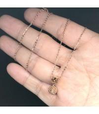 สร้อยคอทองคำ 18k พร้อมจี้ประดับแสดงสัญลักษณ์ลูกเต๋าลาย LV ตัวเรือนทองชมพู สำหรับสุภาพสตรี ความยาวสร้
