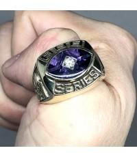แหวนทองคำงานนอก Champion American Bowing 800 serie ด้านหน้าฝังพลอยม่วงประดับเพชรแท้เจียรไน รูปแบบดีไ