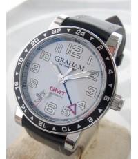 GRAHAM Silverstone GMT size 40mm หน้าปัดบรอนซ์เงินพิมพ์อารบิค บอกวันที่ตำแหน่ง 7นาฬิกา เดินเวลา 4 เข