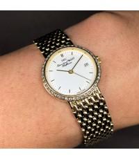 iwc portofino classic after diamond quartz 18k gold ขนาด lady size 25mm หน้าปัดขาวประดับหลักเวลาขีดท