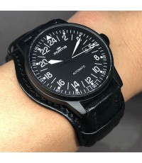 FORTIS Flighter Black 24hr auto date Limited 683/999 ขนาด 41mm หน้าปัดดำประดับหลักเวลาอารบิคสลับขีด