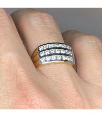 แหวนทองคำประดับเพชรแท้ขนาด 0.05x21 กะรัต น้ำขาว 97 ไฟดีไม่มีตำหนิ ตัวเรือนทอง 90 yellow gold น้ำหนั