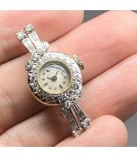 LONGINES Diamond vintage 1930, lady size 14x33 mm, หน้าปัดขาวเดิม เดินเวลา 2 เข็ม กระจกพลาสติค ตัวเร