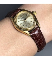 ROLEX Oyster Perpetual 1960s 18k gold Lady size 25mm หน้าปัดบรอนซ์เงินประดับหลักเวลาขีดทอง เดินเวลา