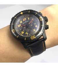 BLANCPAIN Fiffy Fathoms Flyback automatic chronograph ขนาดตัวเรือน 45mm หน้าปัดดำคาบอน ขอบปรับหมุนเท