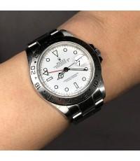 Rolex ExplorerII 16570 F-serie ขนาด 40mm หน้าปัดขาวประดับหลักเวลาพรายน้ำกลม บอกวันที่ตำแหน่ง 3 นาฬิก