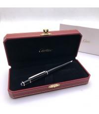 ปากกาหมึกแห้ง cartier stylo plume diabolo ตัวด้ามอครีลิคดำแข็งประดับชุดเหน็บเคลือบแพ็ตตินั่มและหัวพล