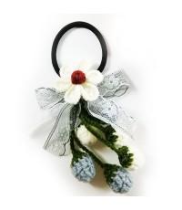 ที่รัดผมผ้าดอกไม้ถักไหมพรม ทำมือ